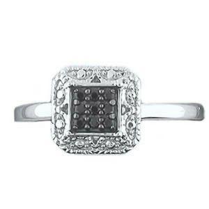 New Ladies Black Diamonds Fashion Ring